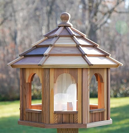 Large Wooden Bird Feeder - 8 Sided Octagon