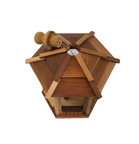 Small 6 sided wooden Bird Feeder - Top View