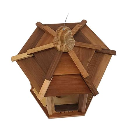 Small wooden 6 sided Bird Feeder - Top View