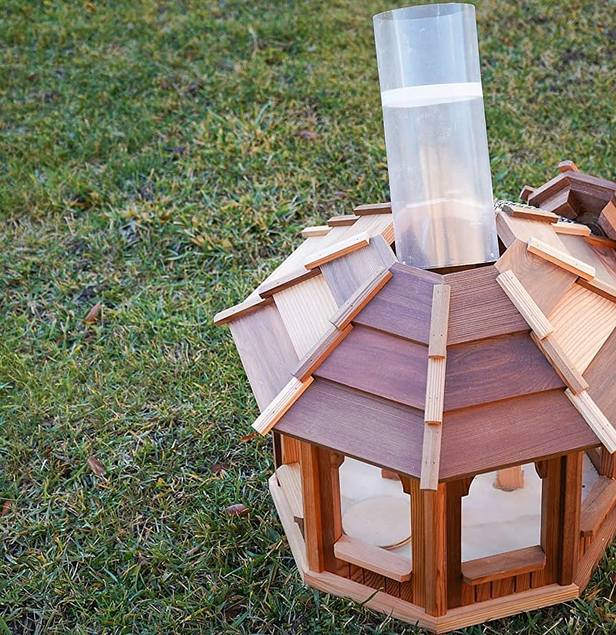 X 8.7 Tall #G-B121A00-US Large Capacity Solution4Patio Hexagon Shaped Gazebo Bird Feeder Hollow Mesh Tray Easy to Clean /& Fill 9.6 Dia USA Cedar